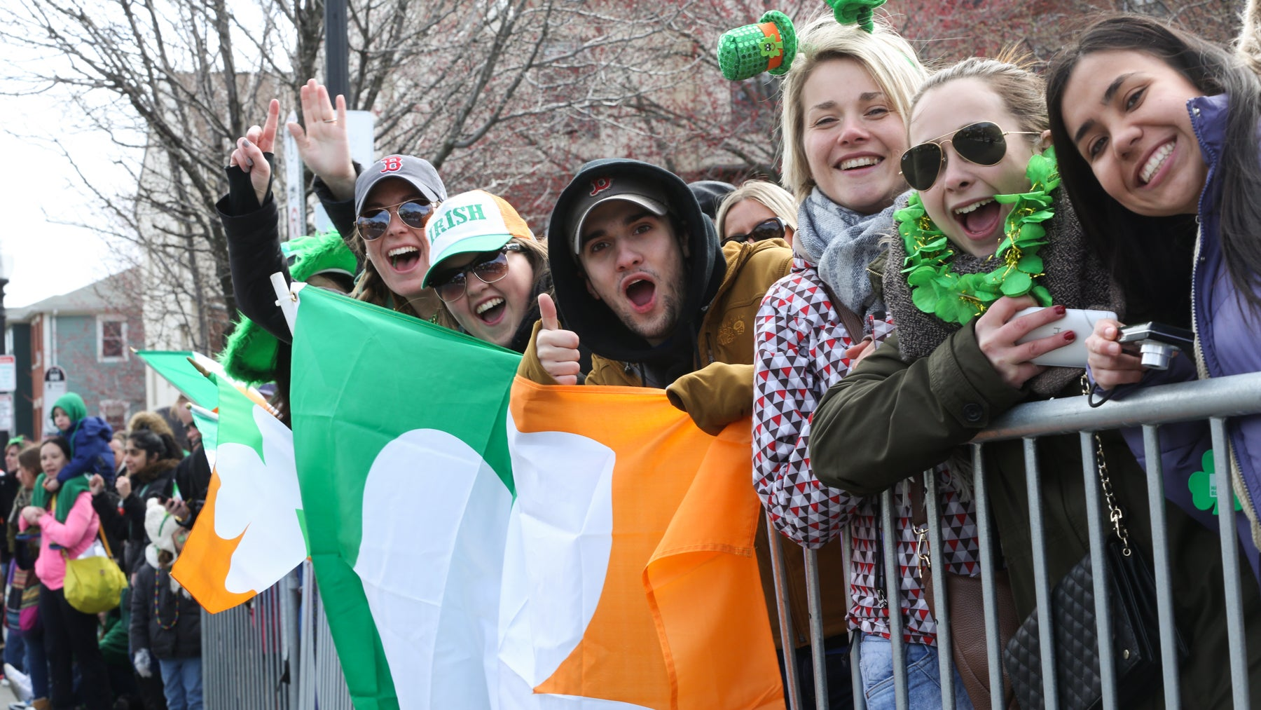 The crowd cheered along the route of the St. Patrick's Day Parade.