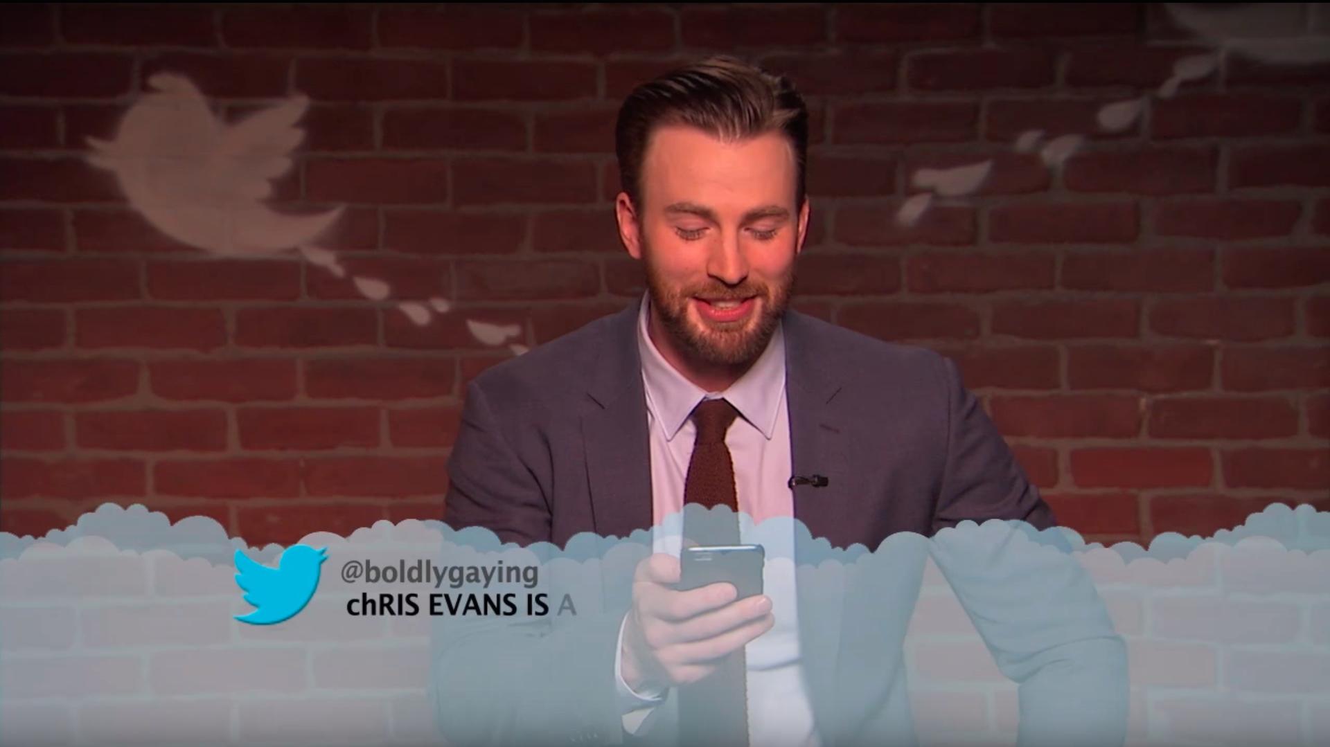 Chris Evans reads a mean tweet about himself.