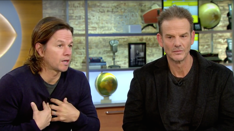 Mark Wahlberg and 'Patriots Day' director Peter Berg.