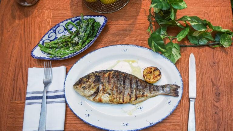 Whole roasted fish at Terra