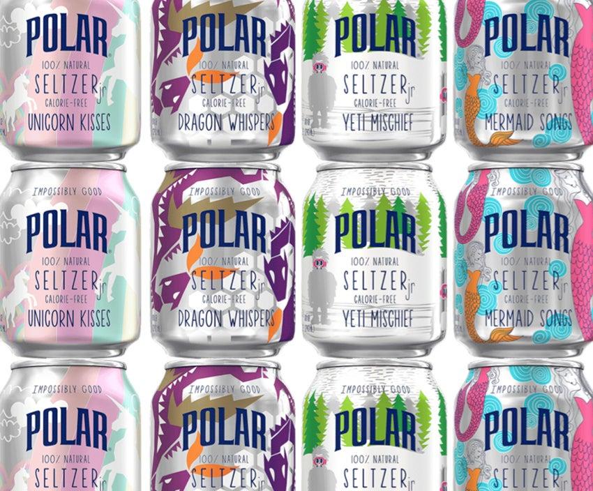 Impossibly Good Polar Seltzer cans