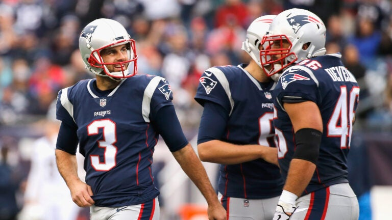 Stephen Gostkowski in the third quarter of the Chargers-Patriots game in 2017.