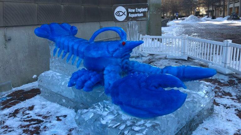 Blue lobster sculpture