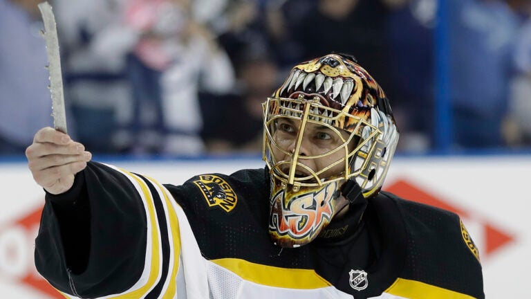 Boston Bruins goaltender Tuukka Rask (40) tries to show the officials his broken skate blade after a goal by Tampa Bay Lightning defenseman Mikhail Sergachev during the second period of Game 1 of an NHL second-round hockey playoff series Saturday, April 28, 2018, in Tampa, Fla. (AP Photo/Chris O'Meara)
