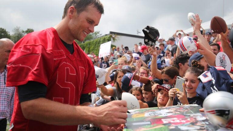Tom Brady at Patriots training camp in 2017.