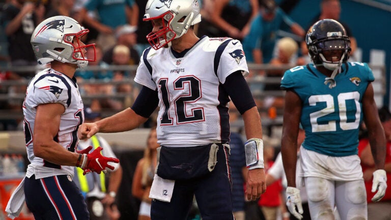 Tom Brady and Chris Hogan during the game against the Jaguars, Sept. 2018.