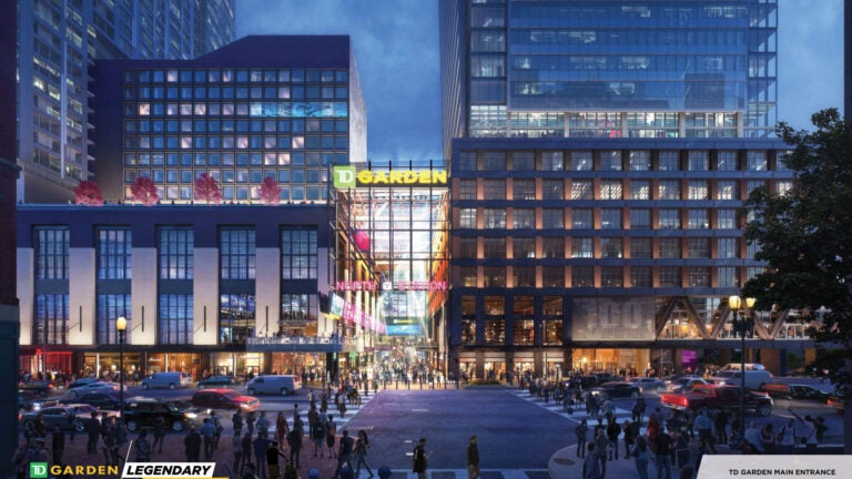 A rendering of what the finished redesign of TD Garden's entrance will look like.