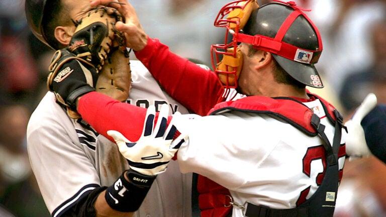 Alex Rodriguez and Jason Varitek fight in 2004.