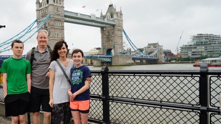 Jenn Mitchell and family in London