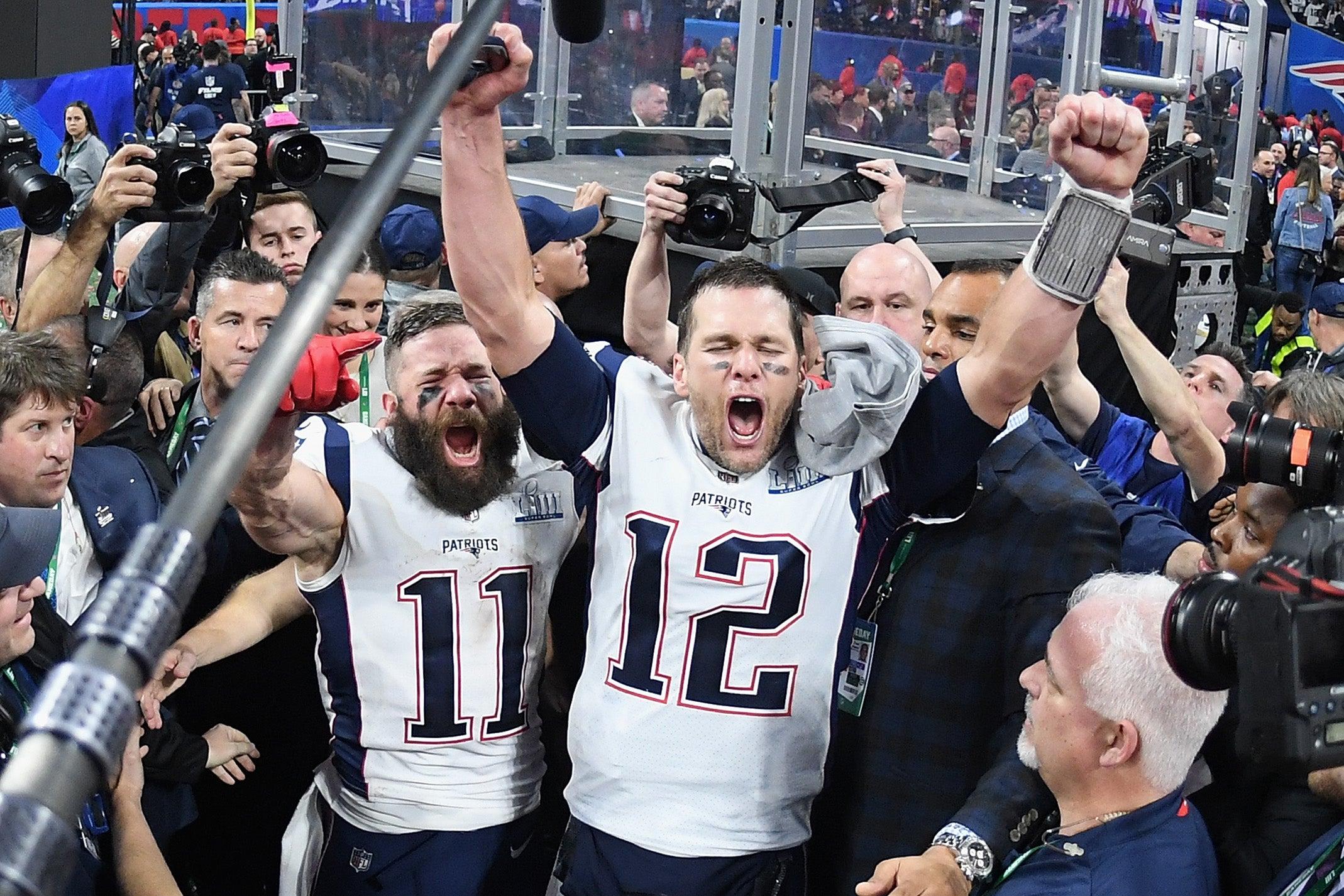 Tom Brady celebrating a Super Bowl win