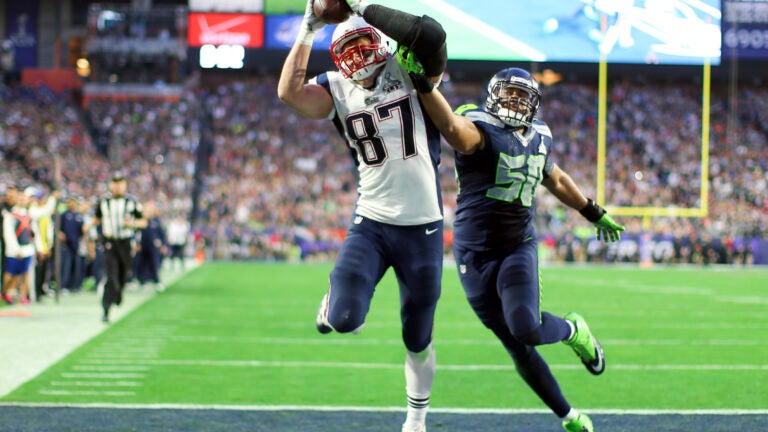 Rob Gronkowski making on his 12 postseason touchdown catches in Super Bowl XLIX.