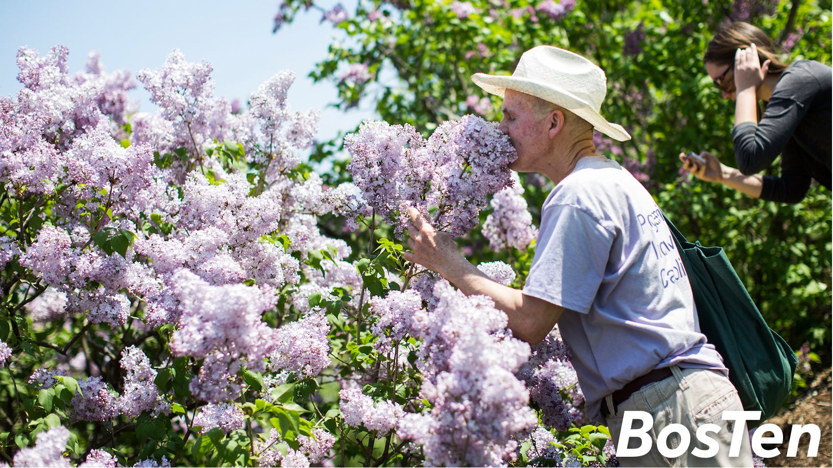 John Prybot smells lilacs during the annual Lilac Sunday at the Arnold Arboretum in 2015.