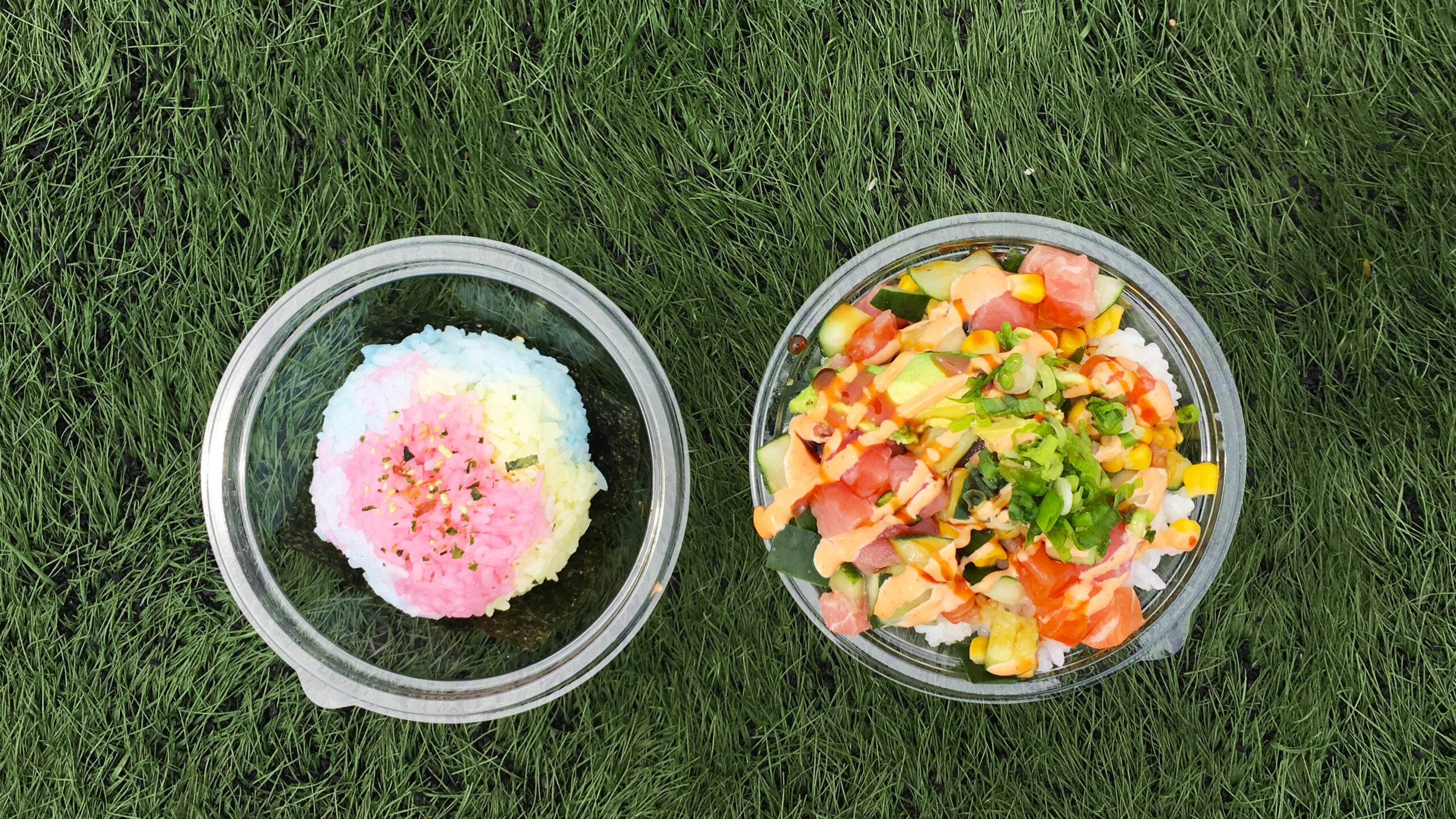 Rainbow onigiri and poke from Love Art Sushi