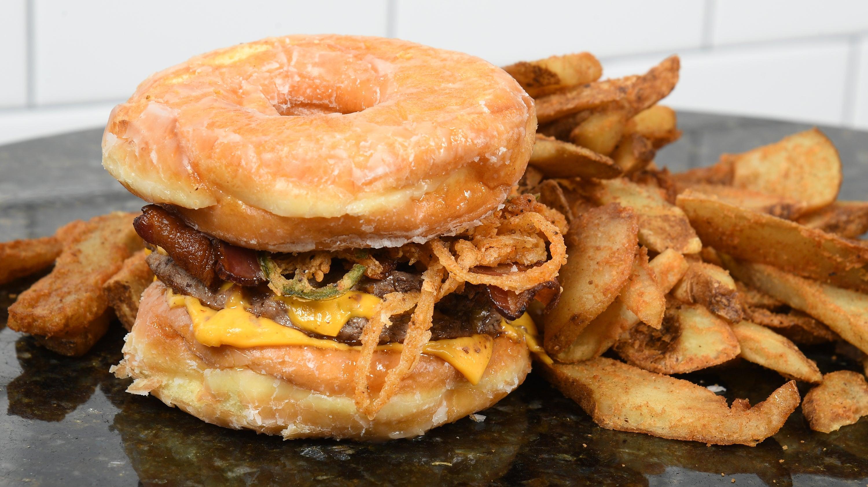 Doughnut burger from Big Bad Burger at TD Garden