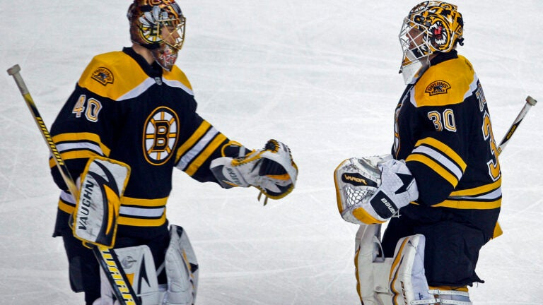 Tuukka Rask Tim Thomas Boston Bruins