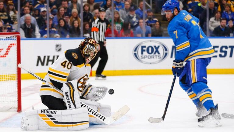 Tuukka Rask Patrick Maroon Bruins Blues NHL