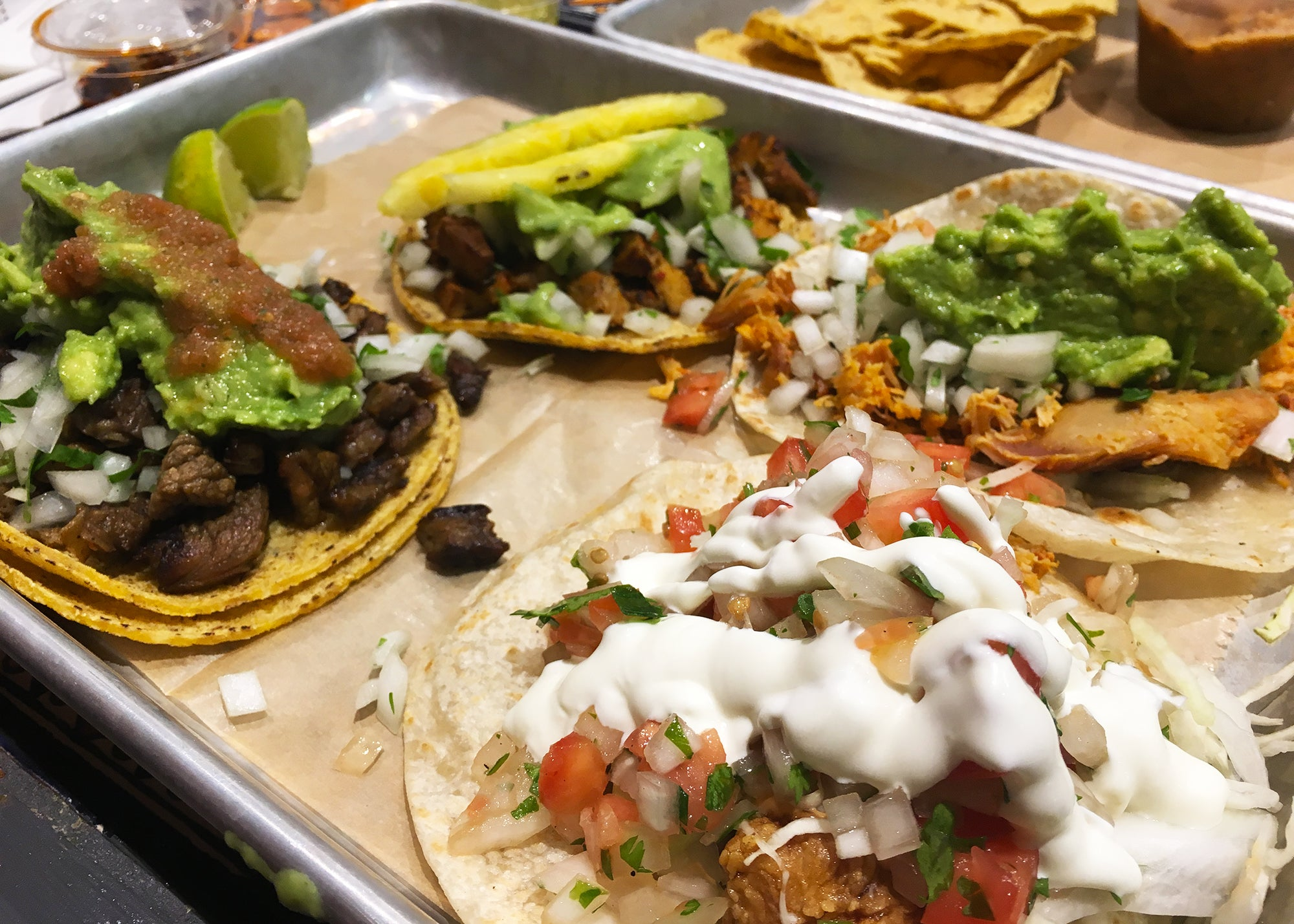 A selection of tacos at Taqueria el Barrio