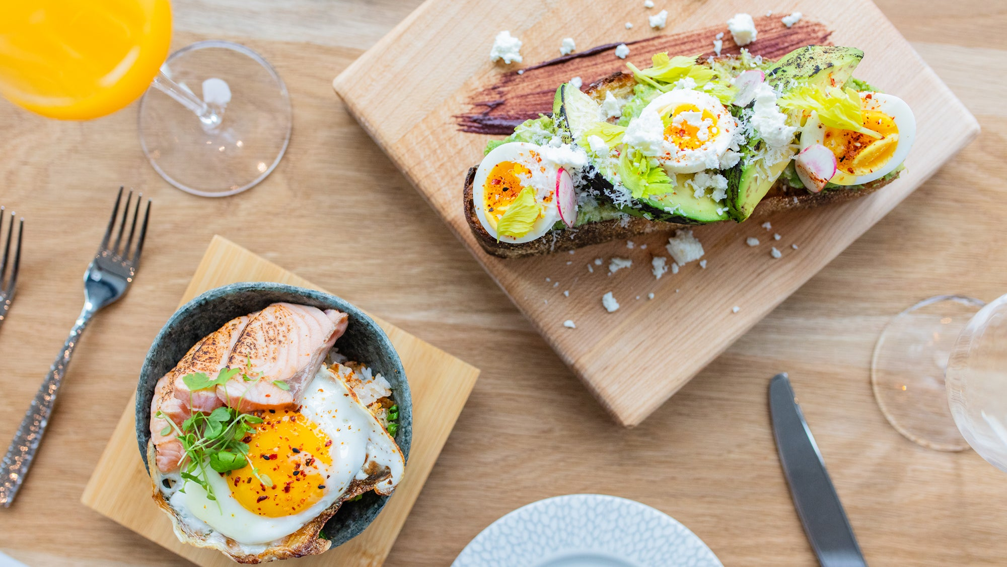 A salmon bowl and avocado toast at Six West
