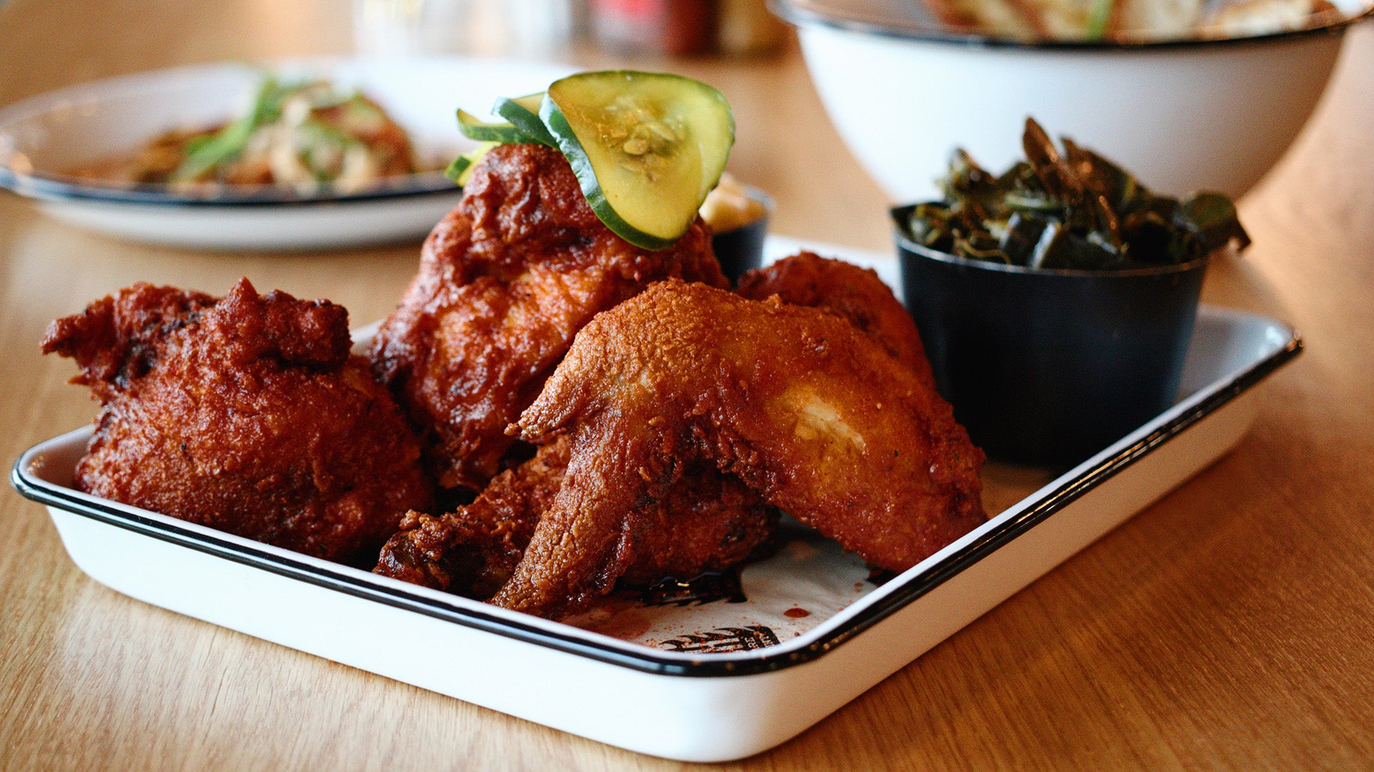 Nashville hot chicken at The Porch Southern Fare and Juke Joint