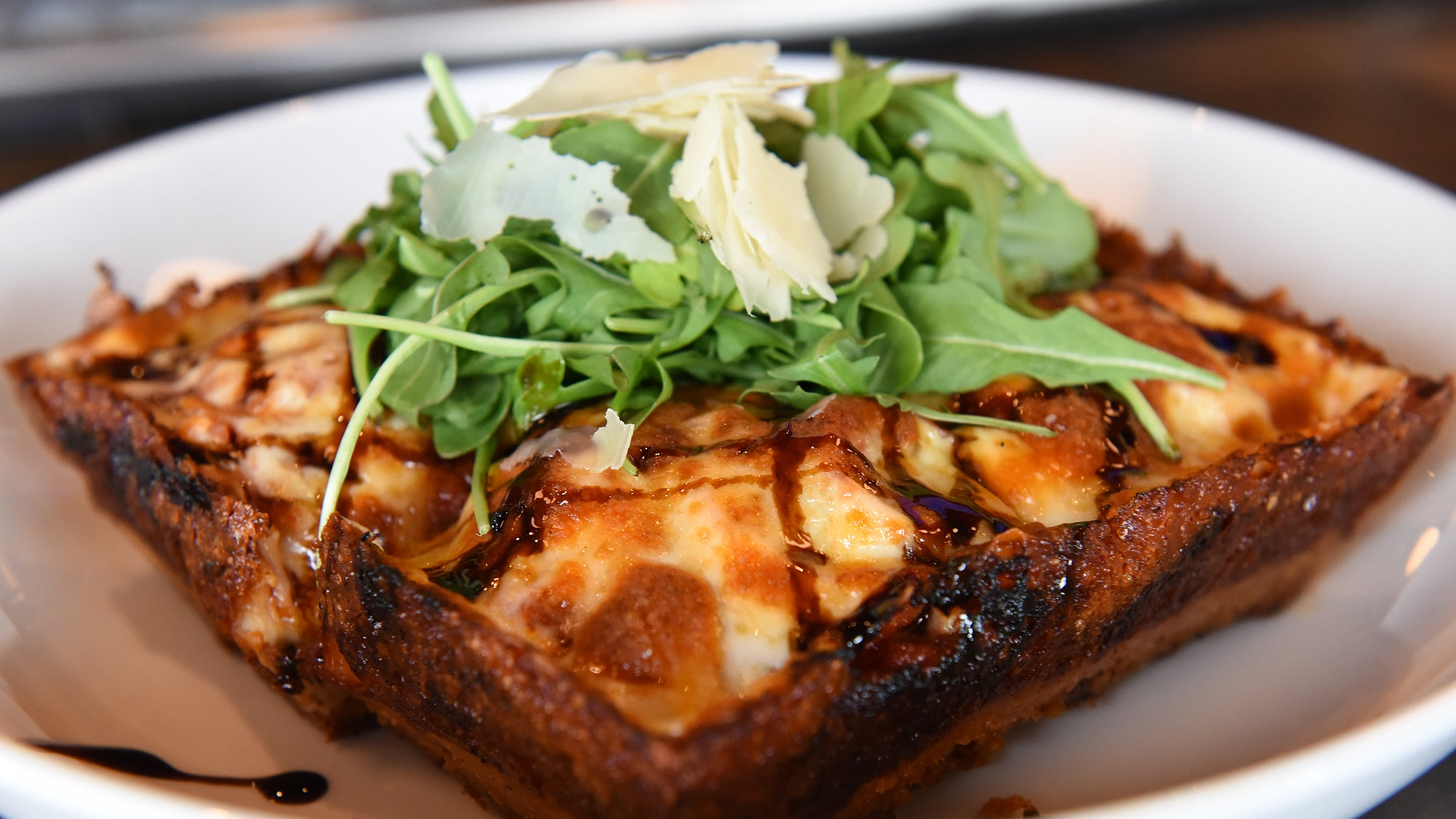 Detroit-style pizza at LongCross Bar & Kitchen