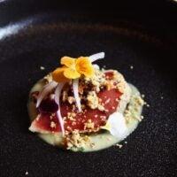 Blue Fin Tuna Yuzu Miso sauce Shatako Shallots and Shataki Crumble