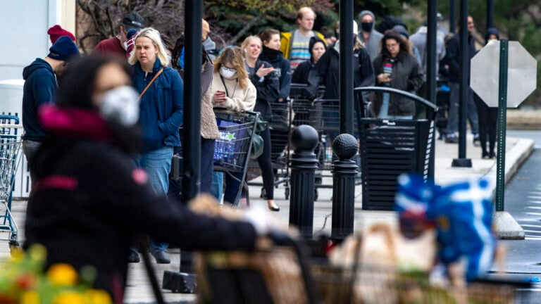 Shoppers in line at Wegman's