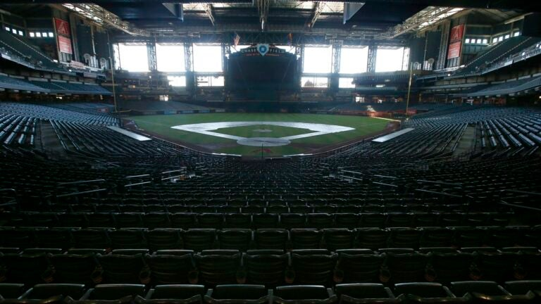 A darkened Chase Field.
