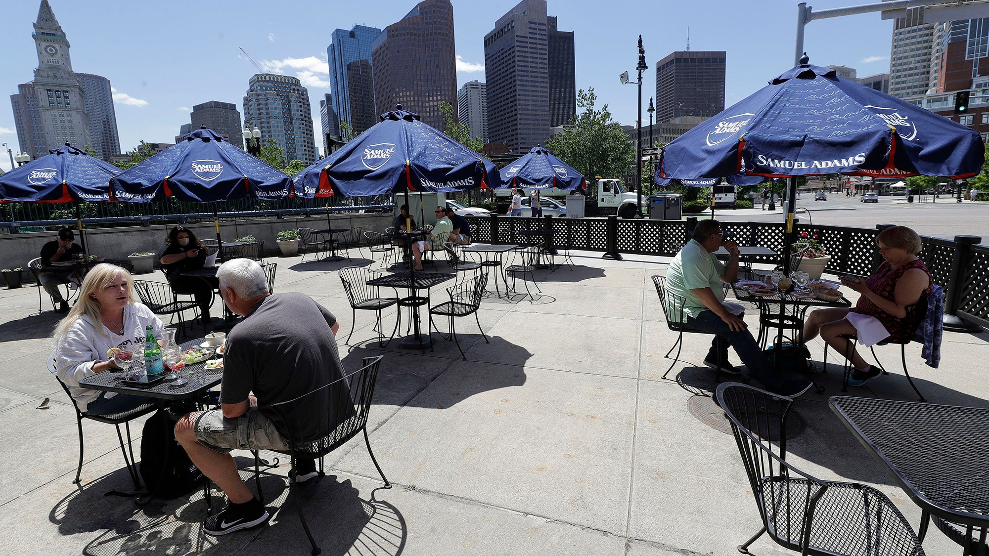 Diners eat outdoors at Mother Anna's restaurant