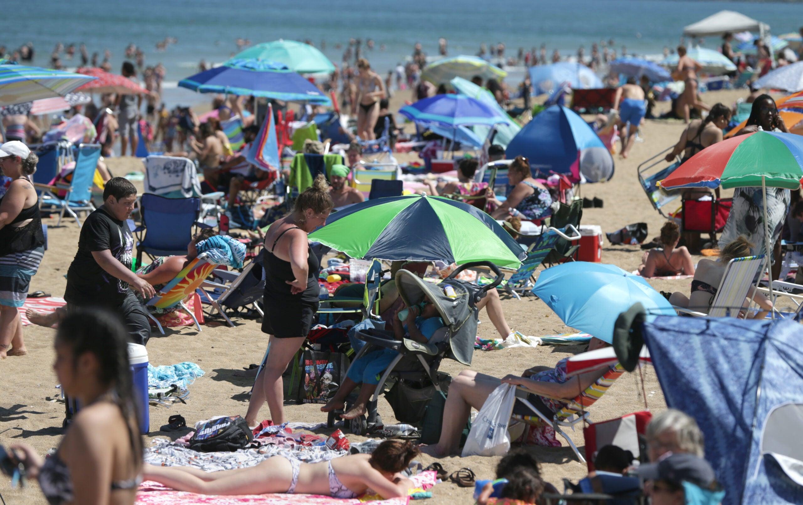 Salisbury Beach was crowded on Friday.