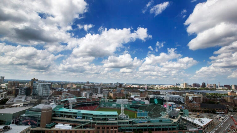 Fenway Park as seen from the 20th floor roof deck of The Viridian.
