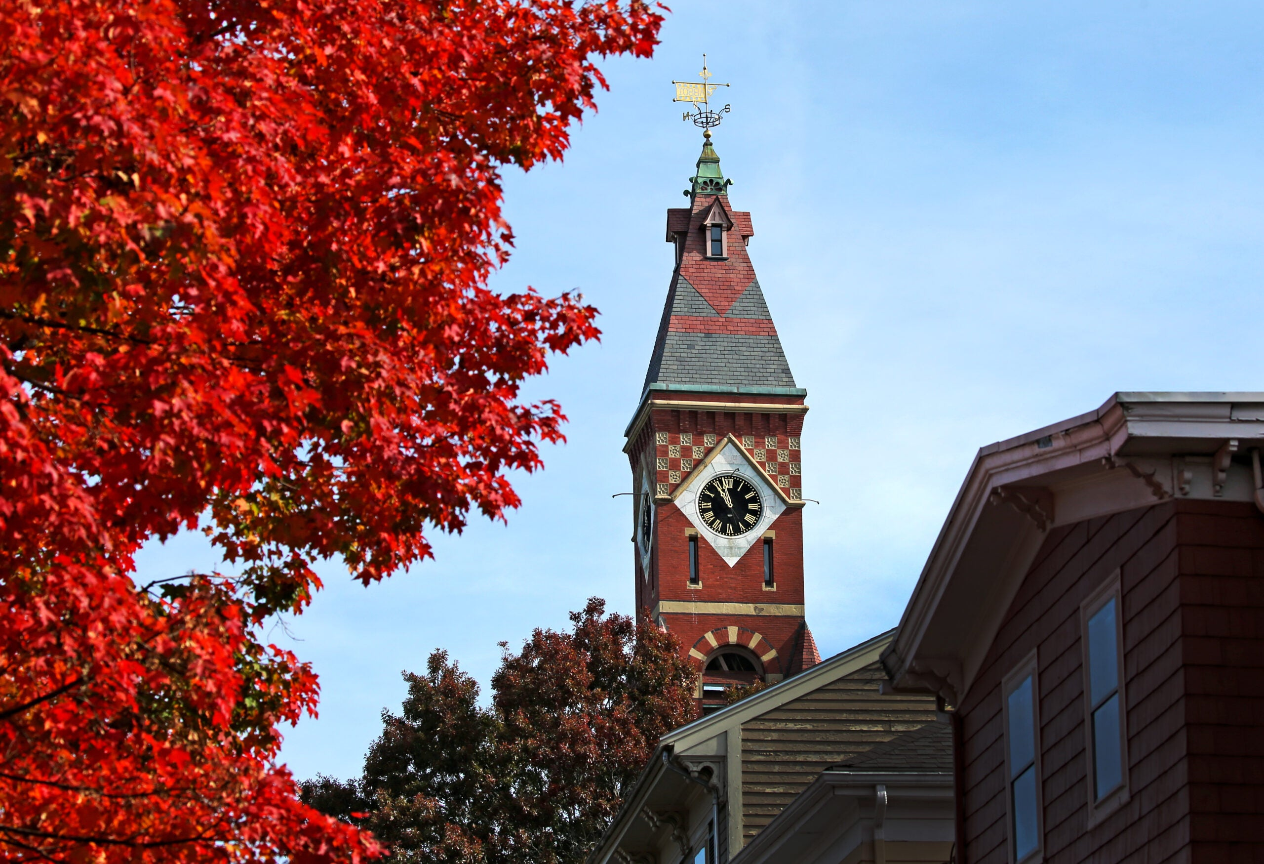 The clock face at Abbot Hall, Marblehead.