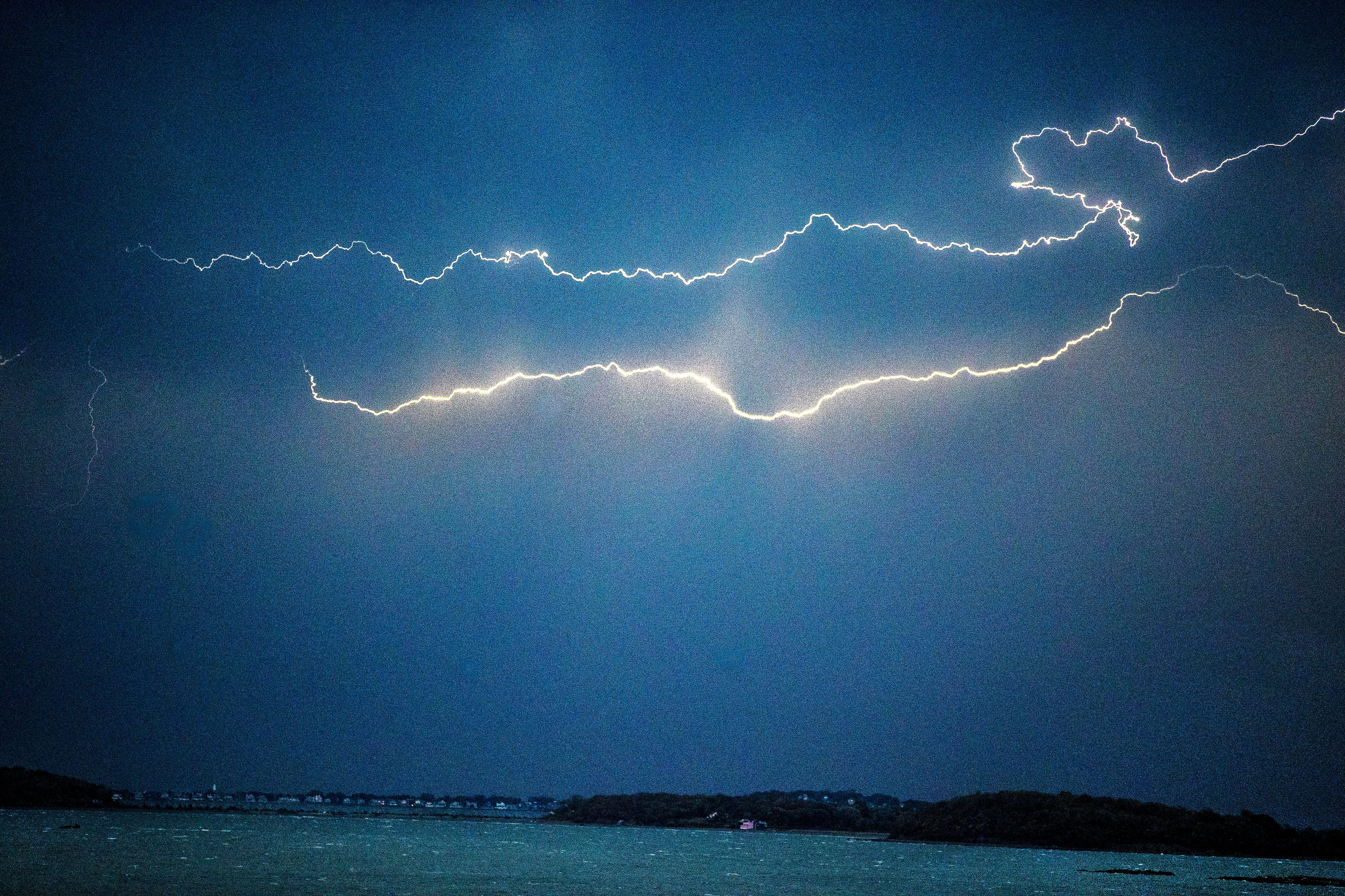 Lightning over Hull and Quincy Bay on Wednesday.
