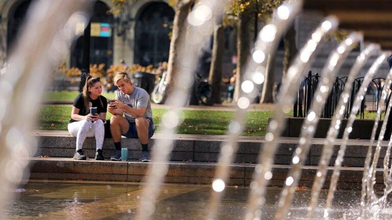The fountain in Copley Square.