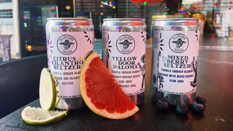 Canned cocktails at Yellow Door Taqueria