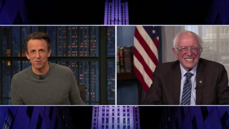 Seth Meyers and Bernie Sanders.