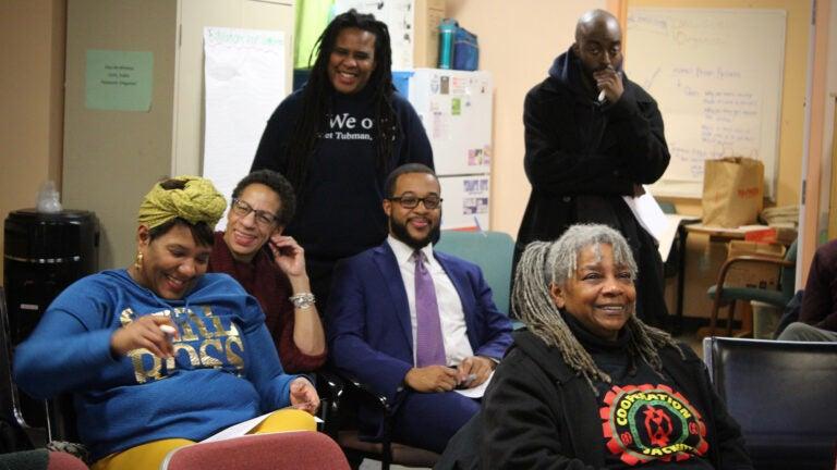 Nia Evans and community members