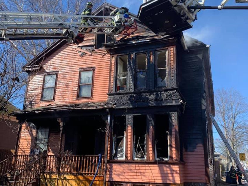 A home at 303 County St. in New Bedford burned on Sunday.