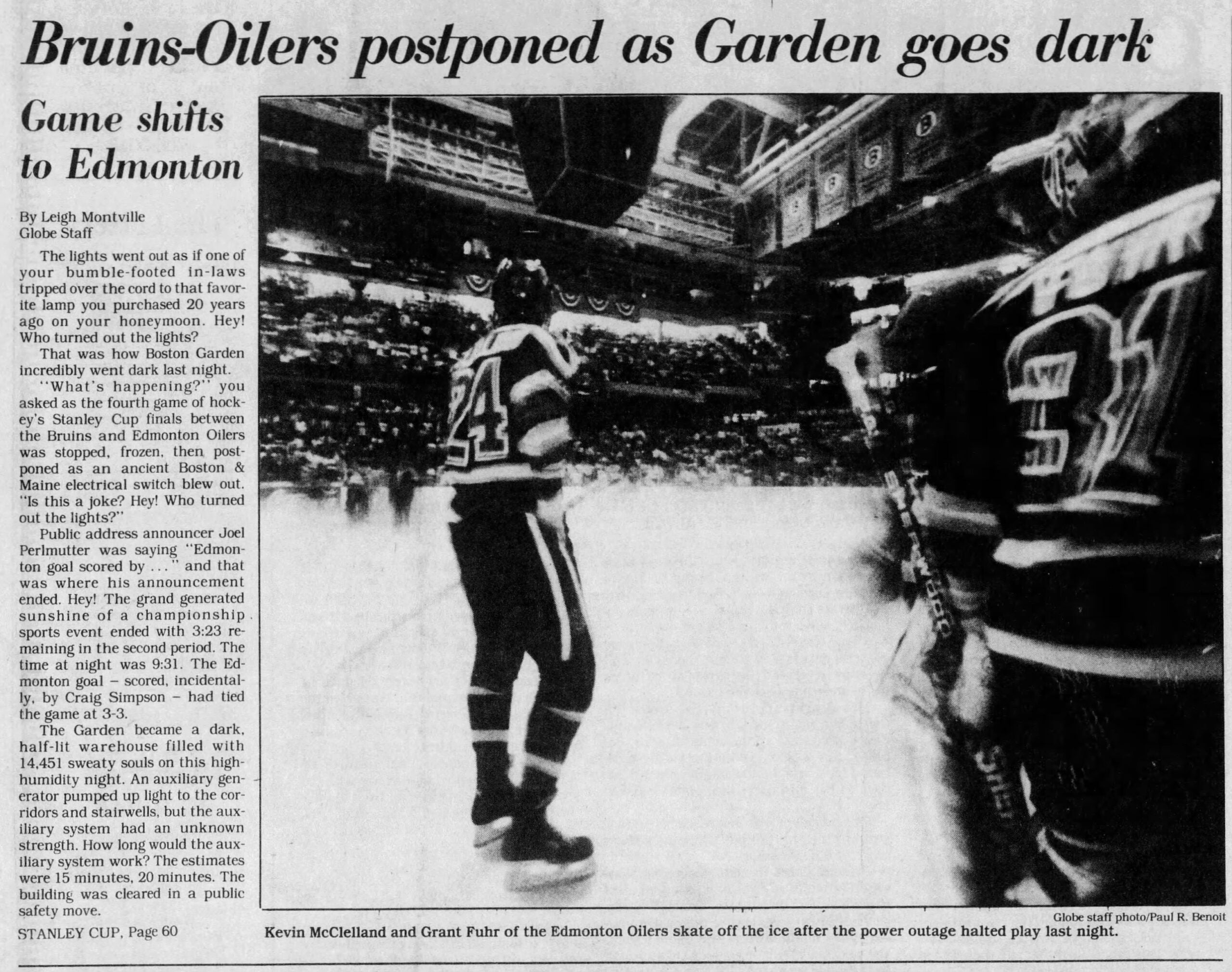 Bruins Stanley Cup Boston Globe 1988