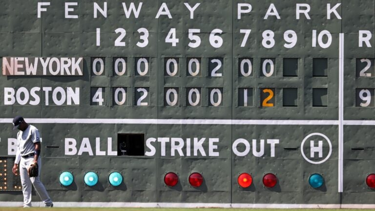 The Green Monster scoreboard, as well as the body language of Yankees left fielder Miguel Andujar, tell the story of the Red Sox' win Sunday and three-game sweep.
