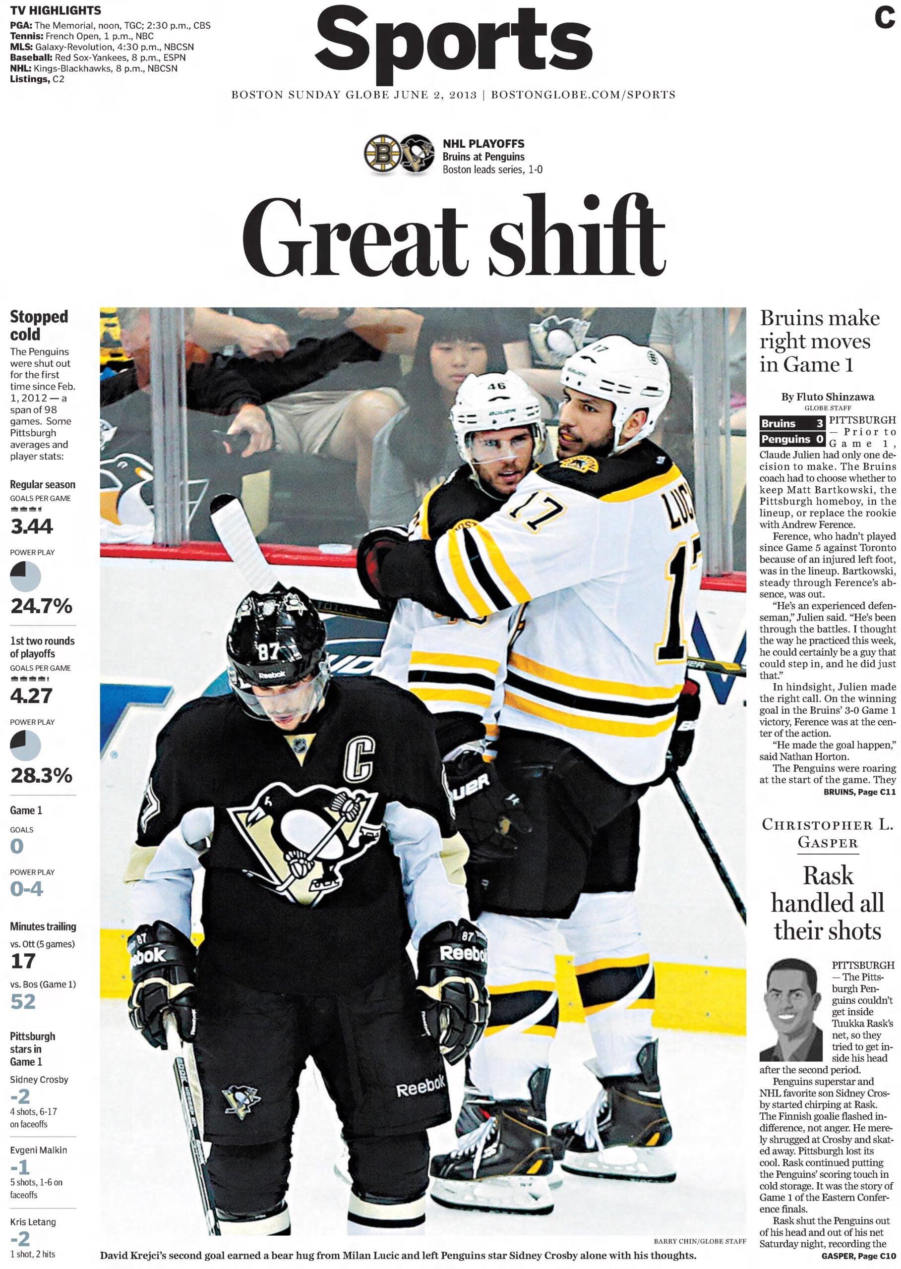 2013 Bruins Penguins Boston Globe