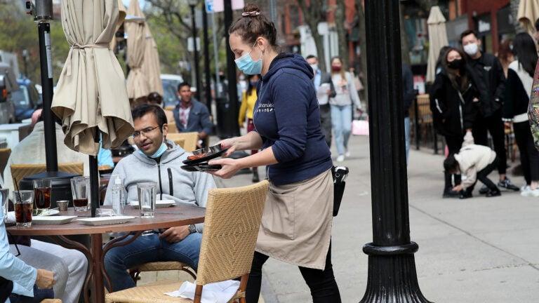 Outdoor diners on Newbury Street