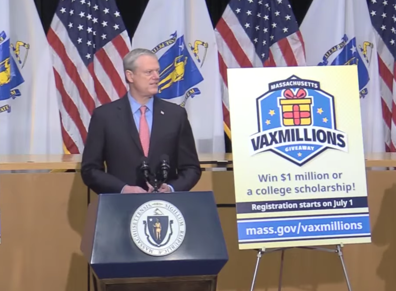 Massachusetts launches vaccine lottery with $1 million prizes