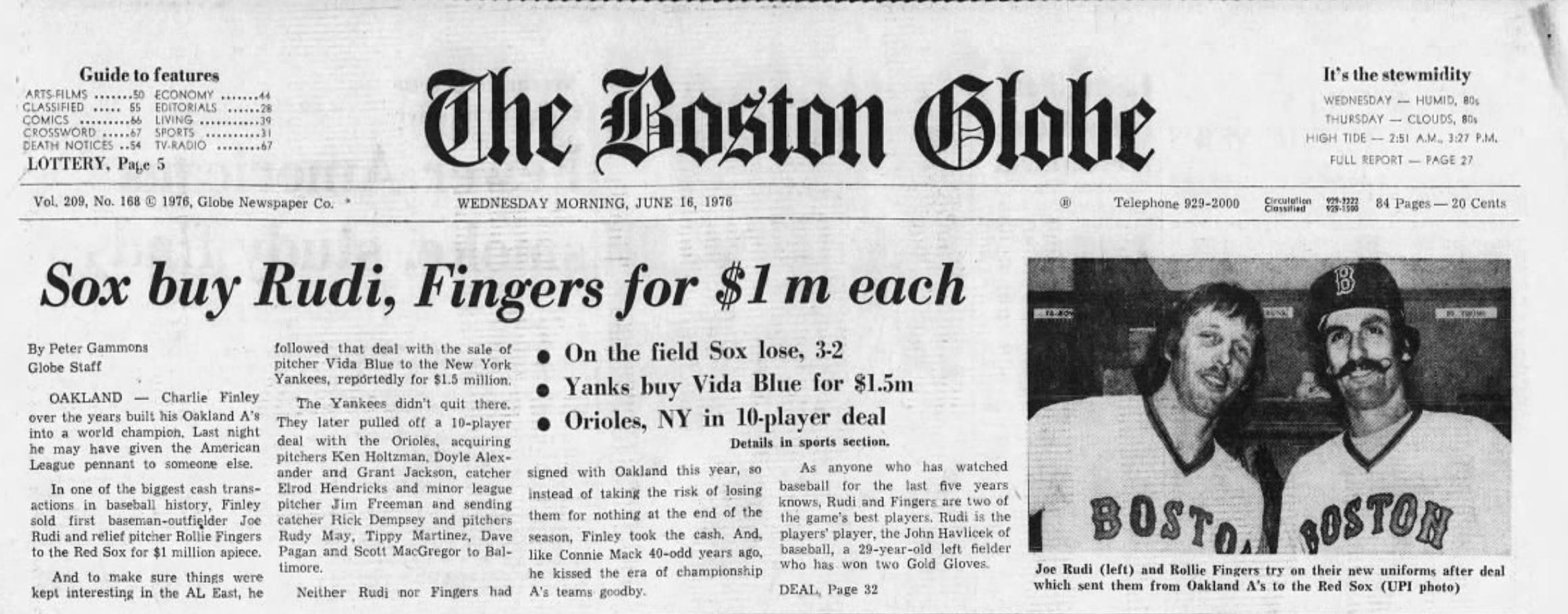 Red Sox Rollie Fingers Joe Rudi