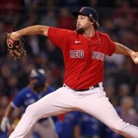 Josh Taylor pitching for the Red Sox.