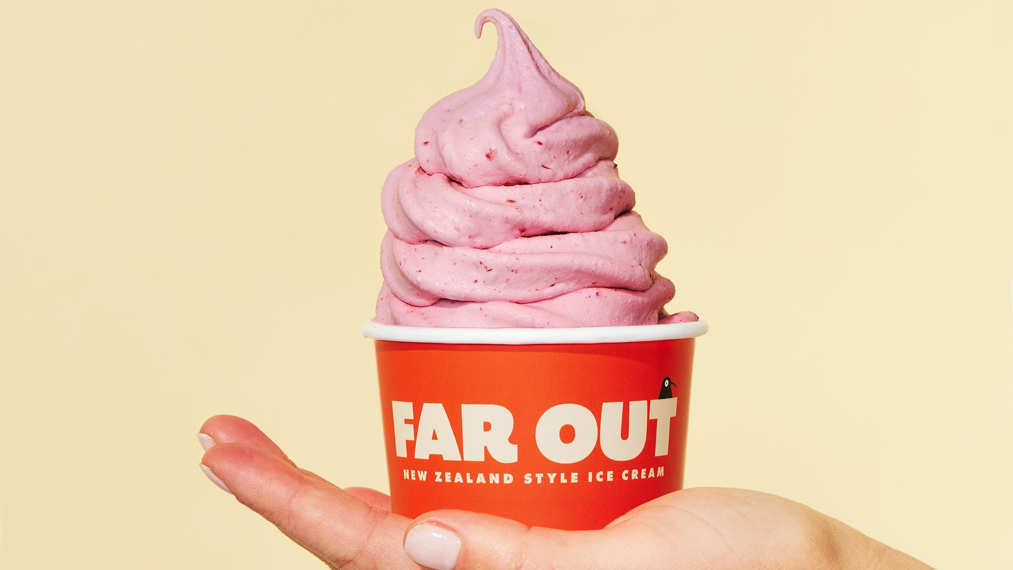 Cup of raspberry ice cream at Far Out