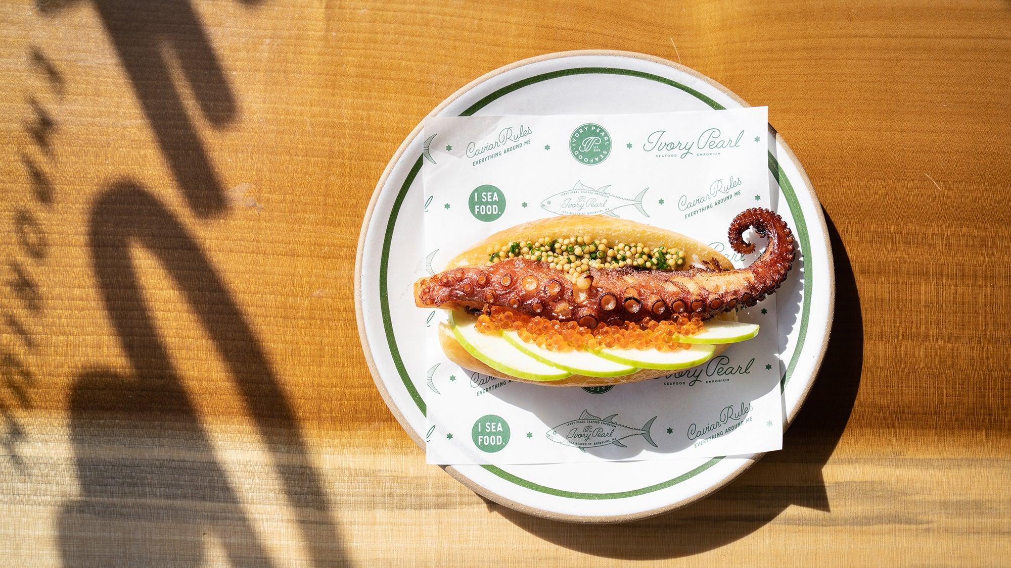 Tentacle hot dog at Ivory Pearl