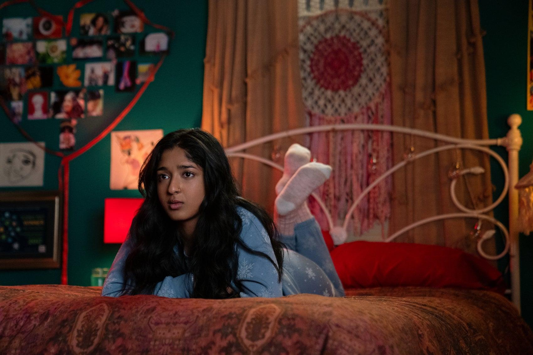 "Maitreyi Ramakrishnan in ""Never Have I Ever"" season 2, now streaming on Netflix."
