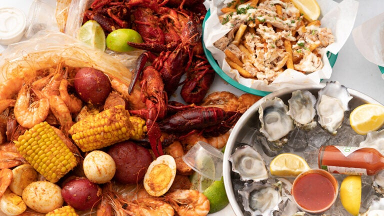 Seafood spread at The Boiling Crab