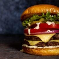 A plant-based cheeseburger at PlantPub
