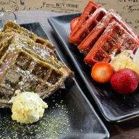 Green tea and red velvet Belgian waffles